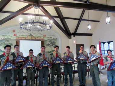 Troop 15 Eagle Scouts Andrew Ahn, Christopher Ayoub, Matthew Ayoub, Jordan Beacham, Kiran Chokshi, Michael Gersho, Vikrant Misra, Malcolm Pickering and Tyler Platt at their Eagle Court of Honor.  Photo by Sandy Pickering.  Photo provided by nj.com.